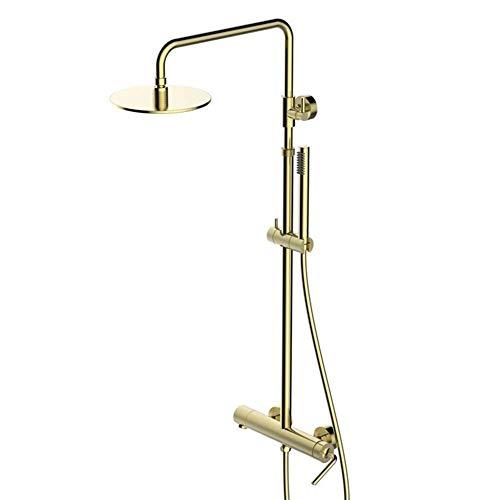 GUOSHUCHE Sistema de ducha de mano, juego de grifo de ducha con funciones duales, baño latón cepillado oro, montado en la pared ducha Set durable
