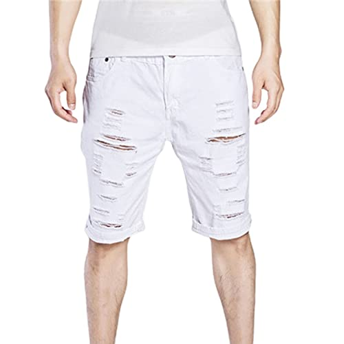 Shorts masculinos, calções masculinos elegantes de verão Calças casuais de cintura média com furo com zíper Shorts masculinos Jean sólidos (branco)
