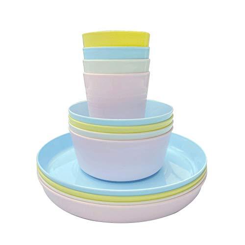Juego de vajilla de plástico reutilizable de 12 piezas, sin BPA, 4 tazas, 4 cuencos y 4 platos, adecuado para niños y niñas, juego de picnic y fiesta para niños y niñas, juego de vajilla para 8 platos