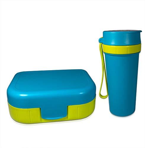 Rotho Memory Kids Set Brotdose mit Trinkflasche in Aqua Blau, Kunststoff (BPA-frei), 2er Set