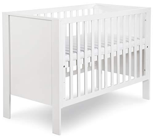Clamaro 'Tiny' 120 x 60 Babybett Gitterbett aus Kiefernholz und MDF inkl. Lattenrost (3-fach höhenverstellbar) mit 2 herausnehmbaren Gitterstäben - Kinderbett Maße: 128 x 63 x 91 cm, Lack Farbe: Weiß