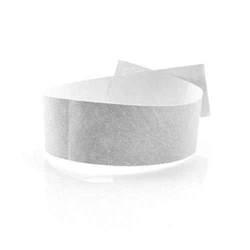 FUN FAN LINE - 200 Unidades Pulseras identificativas 19 mm de Papel tyvek. Pulseras de Control numeradas con Cierre Adhesivo. Intransferible y Resistente al Agua. (Color Blanco)