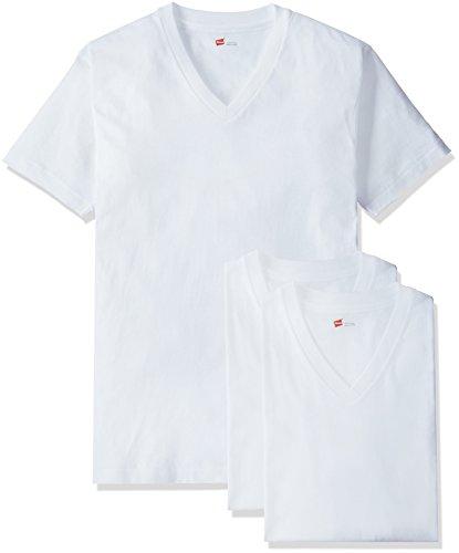 [ヘインズ] Tシャツ 3P 赤パック Vネック 白 3枚組 綿100% 柔らかい肌ざわり メンズ ホワイト S
