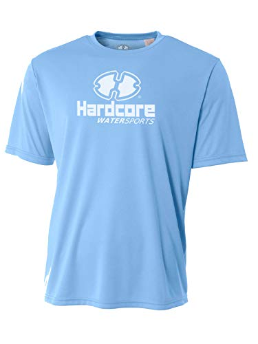 Hardcore Water Sports Mens Rash Guard Surf Swim Shirt SPF Protection Loose Fit Light Blue