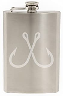 Crossed Fishing Hook Sport Fisherman Boating Bass Trout - Etched 8 Oz Stainless Steel Flask