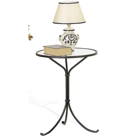 Relax e Design Tavolino - Comodino in Ferro Battuto Colore Nero Grafite, ripiano in Vetro, Diametro cm 45, Altezza cm 62 (Nero Grafite - Vienna)