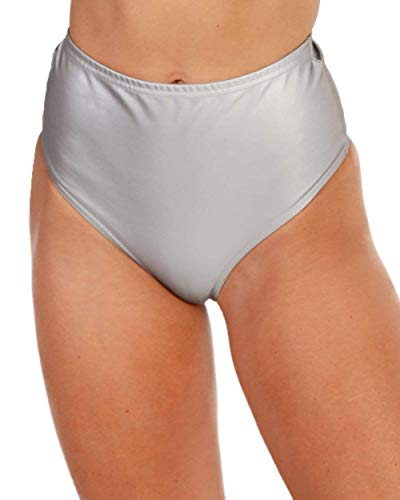 iHeartRaves Reflect On It High Waisted Booty Shorts (Grey, 1X)