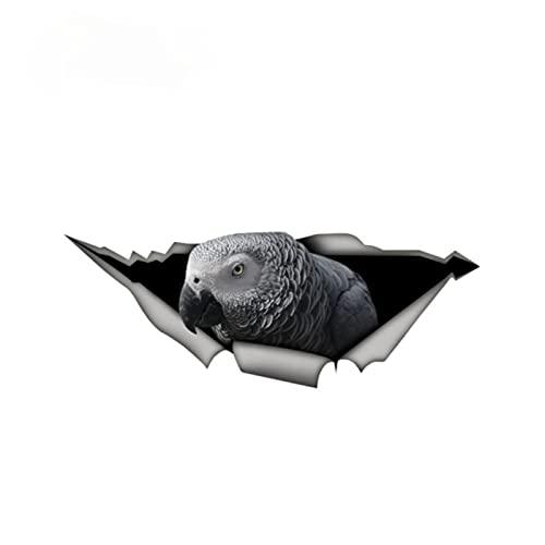 Exquisitas pegatinas de coches Parrot gris Etiqueta engomada divertida Metal Aluminio compuesto Signo de vinilo Estilo lindo Pájaro Pájaro Calcomanía 13 x 5 cm interesante (Color Name : Black)