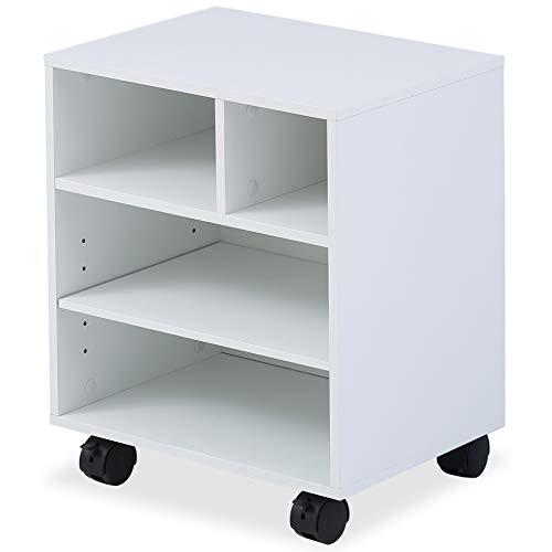 FITUEYES Soporte para Impresora Madera Blanco 4 Compartimientos con Ruedas Carrito Organizador para Oficina Casa 40x30x48.5cm PS404005WW