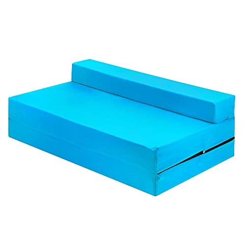 Sapphire Cama doble de 2 plazas, 100% algodón, plegable, para futón, silla de cama, plegable, cómoda con una funda extraíble con cremallera (azul cielo)