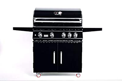 Bonfire 34-Inch Black 304 Stainless Steel Freestanding 4 Burner Propane Grill With Cabinets,Blue LED Lights and Infrared Burner (CBF4DD-B-LP) Comes With Rotisserie Kits and Cover