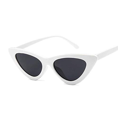 Gafas de Sol Mujer 2 PCS Gafas de Sol Mujeres Sexy Retro Pequeño Gato Ojo Gafas de Sol Diseñador Gafas de Colores Gran tamaño (Lenses Color : White Gray)