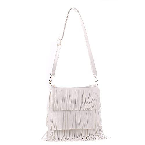 Wedmay Damen Mode Quaste Fransen Schultertasche Crossbody Taschen für Frauen oder Mädchen Handtasche, Weiß - weiß - Größe: Large