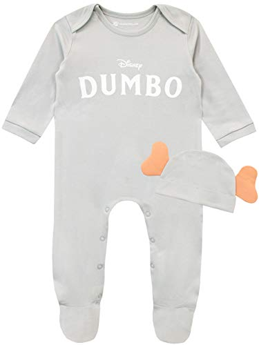 Disney Pijama Entera con Gorro para Niños Bebés Dumbo Gris 6-9 Meses