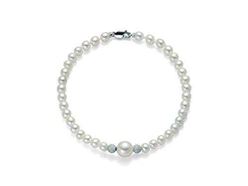 Bracciale Miluna in oro bianco 18kt con Perle e 2 sfere diamantate PBR1410