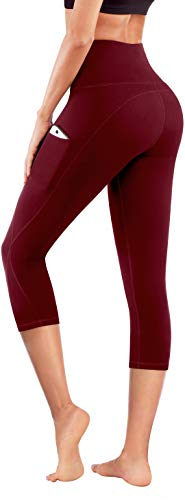 PHISOCKAT High Waist Capris Yoga Pants with Pockets, Tummy Control Workout 4 Way Stretch Capris Yoga Leggings (Wine, Large)