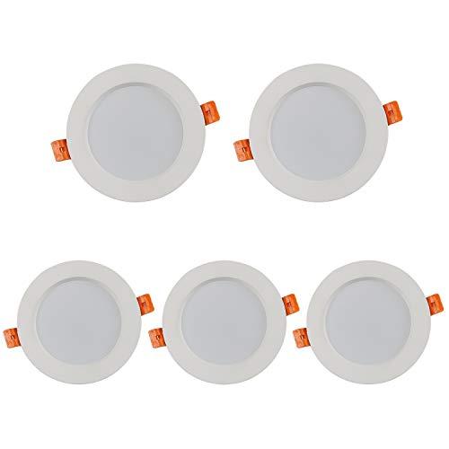 Tvfly - Juego de 5 focos LED empotrables (5 W, 3000 K, 400 lm, 220 V, IP44, níquel redondo), color blanco cálido