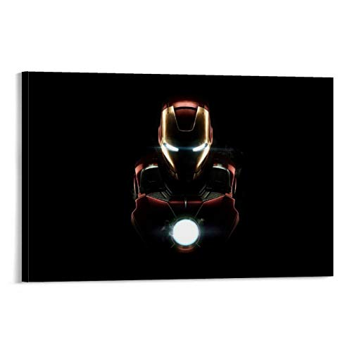 one1love The Avengers Superhero Iron Man Canvas Painting Black Background 3D Printing Canvas Painting 08x12inch(20x30cm) Perfect Decorations for Living Room Bedroom Home Decor Ready to Hang, Framed