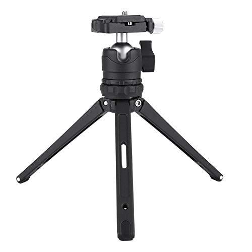 Akozon Trípode de Escritorio Trípode Selfie Stick Soporte de Aluminio para trípode para teléfono Celular para teléfono DSLR SLR Camera con Gradienter Negro