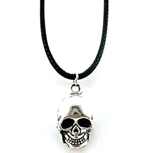 Ketting met schedel symbool hanger met zwart koord kant kan cadeau-idee