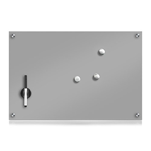 Zeller 11666 Memobord, Glas, grau, ca. 60 x 40 x 2 cm