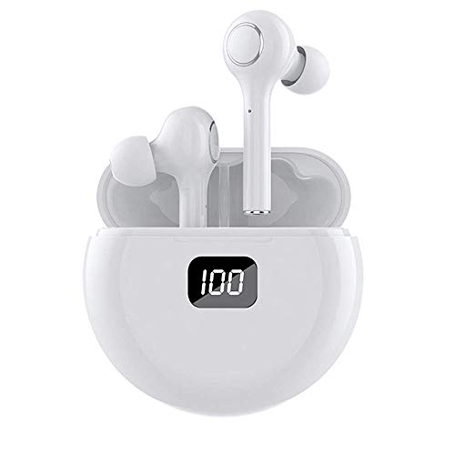 True Wireless Earbuds Bluetooth Earbuds with Smart led Display Wireless Earbuds TWS Stereo Earphones Bluetooth 5.0 Sport Earbuds with LED Display and Round Charging Case Earbuds Bluetooth(White) TW13