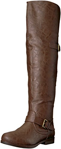 Brinley Co Women's Sugar Over The Knee Boot, Brown, 9 Wide/Wide Shaft US