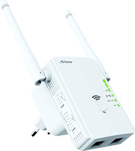 STRONG WLAN Repeater 300 V2, Betriebsmodi: Universal Repeater/Access Point/Router, 300 Mbit/s bei 2,4 GHz, 2 LAN Ports, WLAN Verstärker - weiß