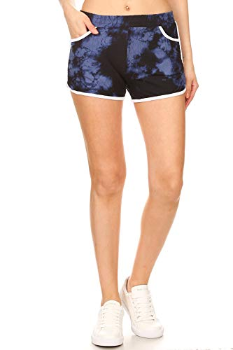 Leggings Depot RSB-R954-L Velvet Tie Dye Short Pants w/Pockets, Large