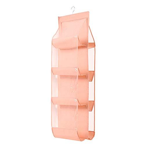 GKKXUE Organizador de Almacenamiento de Bolsos Colgantes 6/8 Bolsillos Bolsa de Estante Soporte de Almacenamiento para armarios de Vestuario (Color : Pink, Size : 35 * 32 * 110cm)