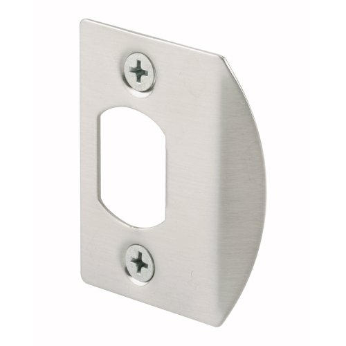 Prime-Line E 2457 Standard Latch Strike, 1-5/8 in., Steel, Satin Nickel Finish (Pack of 2)