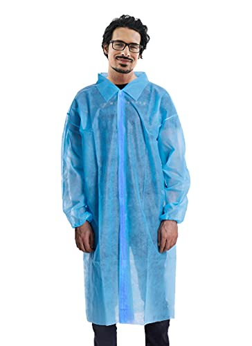 AMAZING Disposable Lab Coats. Pack of 40 Blue Waterproof PE + PP 40 gsm Work Gowns X-Large, 41' Long. Protective Robes with Hook & Loop Fasteners, Collar, Elastic Wrists. Unisex PPE Clothing in Bulk.
