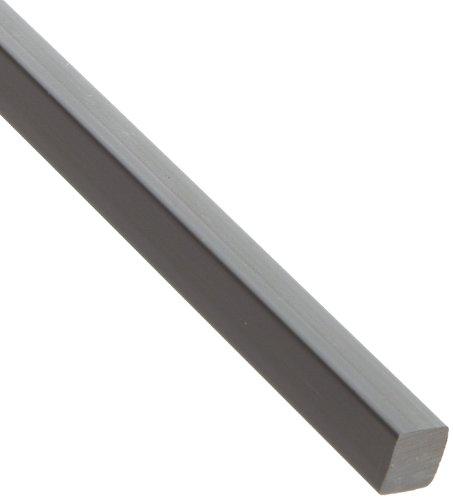 "PVC (Polyvinyl Chloride) Rectangular Bar, Opaque Gray, Standard Tolerance, 1/2"" Thickness, 1/2"" Width, 36"" Length"