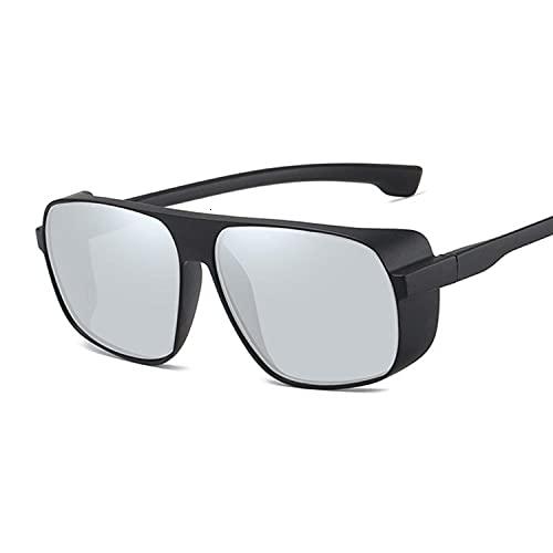 DLSM Gafas de Sol para Hombres Hippie Retro Gafas Redondas Steampunk Fashion Sunglasses Sombras Vintage Adecuado para Pesca y Golf Street Shooting-Plata Negra