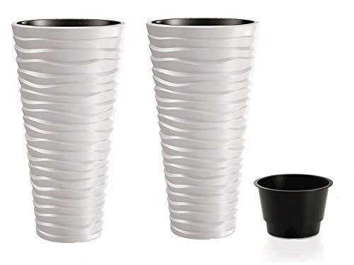 rg-vertrieb 2 Stück Blumenkübel Pflanztopf Blumentopf Pflanzkübel 3D Effekt Welle Design mit Einsatz 75cm weiß
