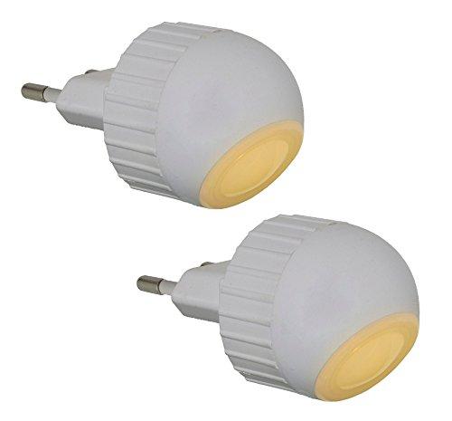 Trango 2er Pack LED Steckerlicht Wandlampe Steckdosenlampe Orientierungslicht Kinderlicht Nachtlicht Steckdose TG11-26E Sicherheitslicht mit Helligkeitssensor Auto AN/AUS