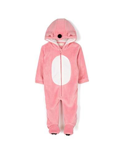 ZIPPY – Tutina con Cappuccio e Piedi Cane Rosa Pigiama Animale, Costume da Bambina Invernale Halloween e Natale Misto 18-24 Mesi
