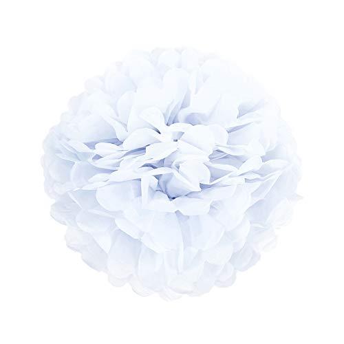 10er Set 20cm 25cm Papier Pom Poms Seidenpapier Pompom Dekoration für Party Hochzeit Deko (20cm, Weiß)