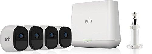 Arlo Pro VMS4330 - Sistema de seguridad y vigilancia de 4 cámaras sin cables con estación base y sirena (recargable, interior/exterior, visión nocturna, audio bidireccional, visión 130º)