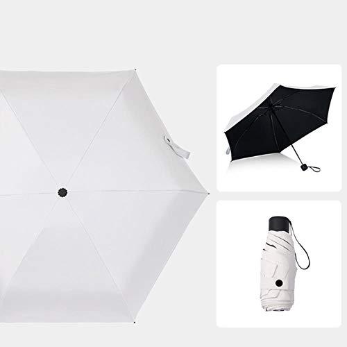 Fgh Regenschirm, einfarbig, 5-fach faltbar, nicht automatisch, 6 Knochen, Unisex, Regenschirm für Damen und Herren, in sonnigen und regnerischen Farben weiß