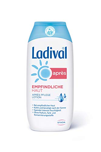 LADIVAL Empfindliche Haut Aprés Lotion - Parfümfreie After Sun Lotion - hautberuhigend, feuchtigkeitsspendend und kühlend - ohne Farb- und Konservierungsstoffe, 200 ml