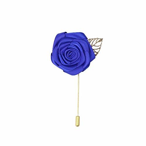 Klassische Revers Blaue Rose Blattgold Anzug Ansteckblume Stick Brosche Corsage