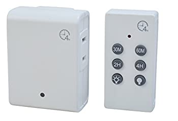 Woods 59781WD Indoor Wireless Remote Control Timer with Countdown Plug-In 1 Polarized Outlet  White