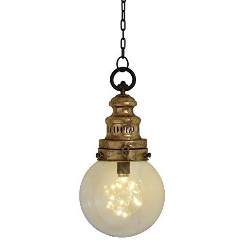 chemin_de_campagne Lampe Lanterne Globe Verre Fer Industrielle Ampoule LED 38x19 cm