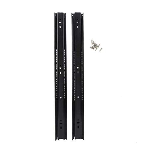 1Pair 18 Inch Ball Bearing Slides Cabinet Drawer Slider Runner Steel Slide Rails For Furniture Hardware Accessories Drawer Slide Rail Ball Bearing Slide Rail (Color : Black)