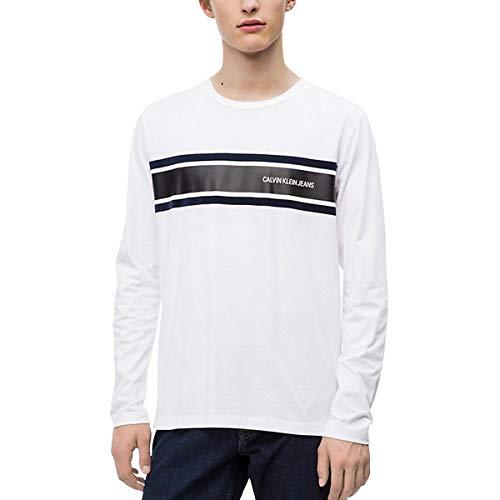 Calvin Klein Jeans T-Shirt Long Sleeve Stripe Regular Fit (XL, Bianco)