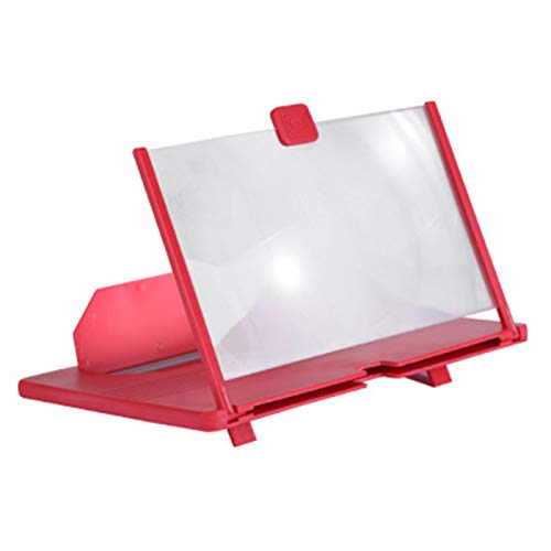 YUY Phone Screen Magnifier 3d Enlarger Ultra High Speaker 10 Inches With Pullable Design For Movies, Videos, And Gaming,Red