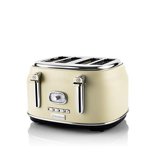 Westinghouse Retro Toaster 4 Scheiben - 4er Toaster mit Brötchenaufsatz, Krümelschale & weiteren Features, ideal als...