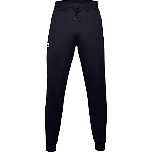 Under Armour Sportstyle Tricot Jogger Pantalones, Hombre, Negro (Black/White), L