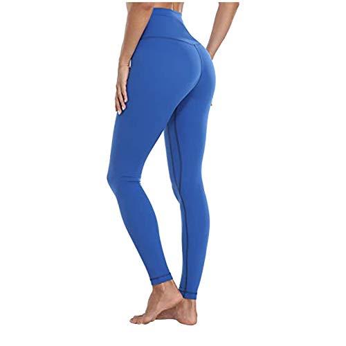 Yoga Leggings Frauen Stretch Fitness Laufsport Sport in voller Länge aktive Hosen ( M,7Blau )